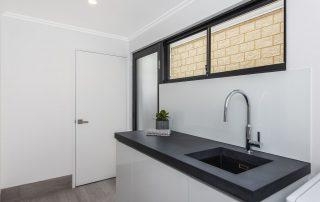 black sink concrete benchtops