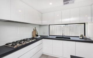 White kitchen concrete benchtops